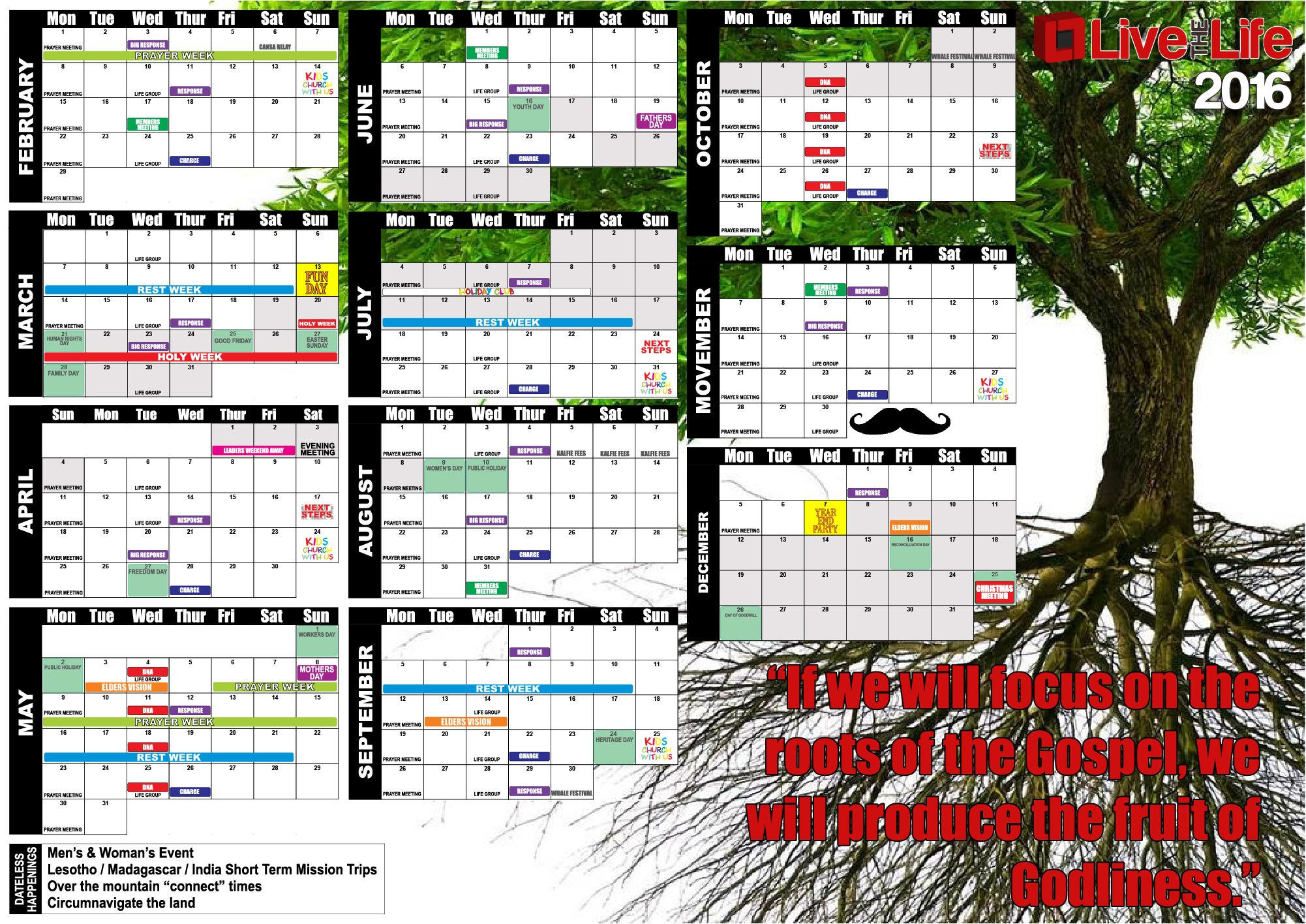 Year Planner Calendar South Africa : Live the life church hermanus south africa